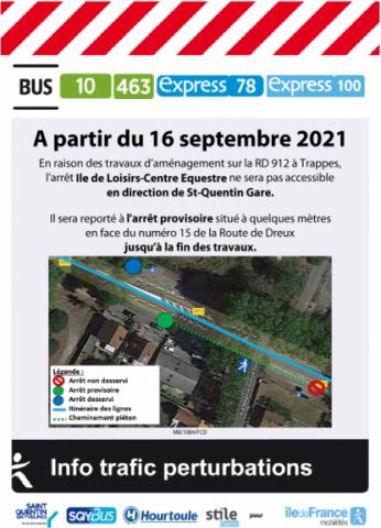 """LIGNE 100 : Arrêt """"Ile de Loisirs-Centre Equestre"""" déplacé"""